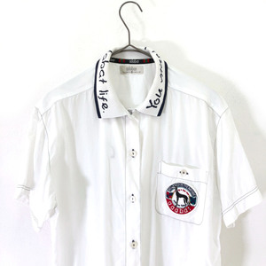 ゴルフ◆adabat アダバット ワッペン付き ポロ 半袖シャツ サイズ 1 /白/ホワイト/レディース/日本製/ワールド