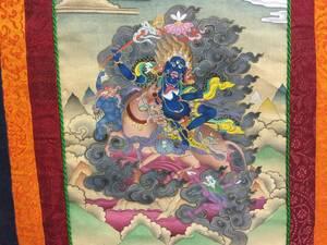 チベット仏教 絹本 仏教美術 古画 曼陀羅 捲り 画布 古裂 更紗 密教美術 仏画 マクリ 仏像 手書き   A8.5