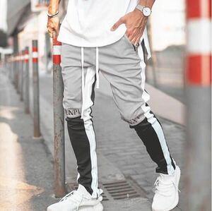 ラインパンツ ジョガーパンツ ストレッチ スキニー トラックパンツ テーパードパンツ ボトムス メンズ レディース ストリート グレー