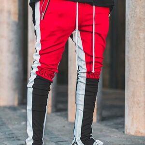 ラインパンツ ジョガーパンツ ストレッチ スキニー トラックパンツ テーパードパンツ ボトムス メンズ レディース ストリート M L 赤 黒 白