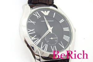 エンポリオ アルマーニ EMPORIO ARMANI メンズ 腕時計 AR 1703 ラウンド ブラック 文字盤 SS スモセコ アナログ クォーツ【中古】bt2052