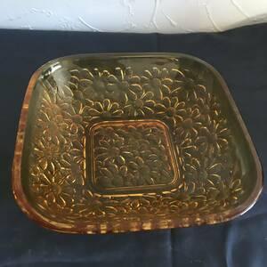 昭和レトロ 古硝子 ガラス小皿 1枚 角皿 ガラス皿 硝子鉢 菓子 フルーツ サラダ デザート アンティーク