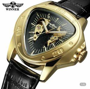 新品 男性 腕時計 機械式 自動巻き メンズウォッチ 三角盤 スケルトン 革ベルト メンズ腕時計 防水 14色 1128