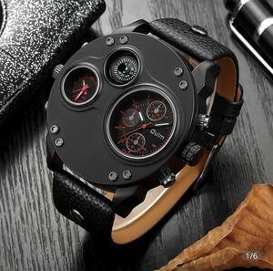 【最安】 腕時計 メンズ Oulm 海外ブランド クオーツ スチームパンク 防水 レザーバンド 選べる4色 2タイムゾーン クオーツ時計 1106