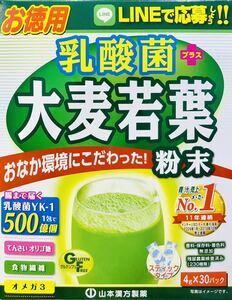 送料無料 山本漢方製薬 乳酸菌大麦若葉粉末100% 4g×30包 徳用 青汁 箱無し 本体のみ