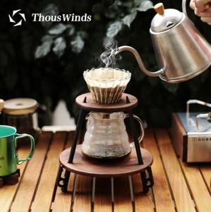 Thouswinds 木製コーヒーテーブル 屋外のキャンプ ハンドドリップ コーヒーホルダー コーヒードリップフィルターホルダー リビング ペグ