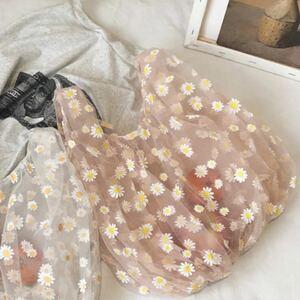 【新品】可愛い★花柄 レース エコバッグ ショッピングバッグ トートバッグ  花柄バッグ オーガンジー