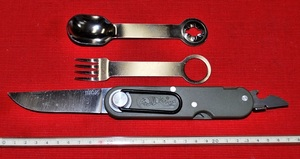 No.K-1990 キャンピングナイフキット。Made in France・ Knifu・Fork・& Spoon・ ビニールケース付