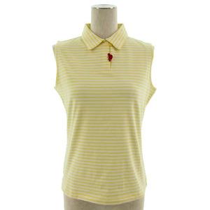 ピッコーネ PICONE ポロシャツ ノースリーブ ボーダー ストレッチ イエロー 黄色 ホワイト 白 38