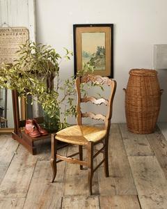 jf00482d 仏国*フランスアンティーク*家具 ラッシュシートチェア ダイニングチェア ナチュラル 自然素材 い草 木製椅子 籐編み 彫刻 猫脚