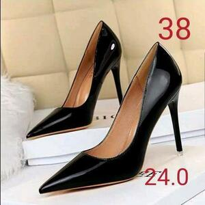 セール商品 サイズ38 ピンヒール エナメルパンプス 黒 ポインテッドトゥ ハイヒール 通勤 美脚 結婚式 リクルート