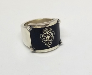 美品 グッチ リング 指輪 クレスト 紋章 16 メンズ SV925 GUCCI シルバー
