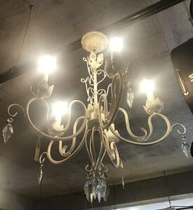 【No72】アンティーク調 シャンデリア 5灯 ホワイト 照明 ヴィンテージ クリスタル