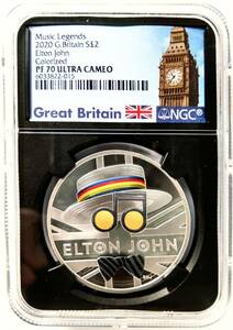 【最高鑑定】2020年 エルトンジョン ミュージックレジェンド イギリス 2ポンド カラー 銀貨 NGC PF70 ULTRA CAMEO モダンコイン