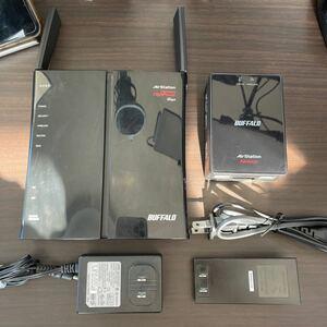 【中継機セット】BUFFALO 11n/b/g対応 ハイパワー 無線LANルーター AirStation + 中継子機セット