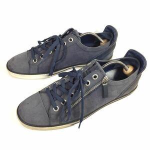 【ルイヴィトン】本物 LOUIS VUITTON 靴 26.5cm 水色系 ダミエ スニーカー カジュアルシューズ ヌバック 男性用 メンズ イタリア製 8
