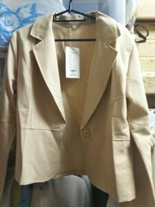 テーラードジャケット:タグ付き:ベージュ:レディース