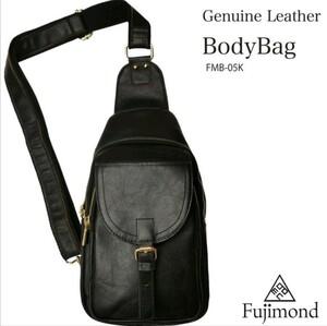 Fujimond 牛革 ボディバッグ 本革 ワンショルダーバッグ 斜め掛け 高品質 メンズバッグ ブラック ショルダーバッグ