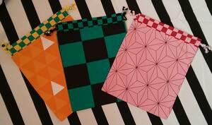 ☆ハンドメイド☆巾着袋 給食袋 3枚セット送料込み 鬼滅の刃風和柄 市松 麻の葉 鱗 ポーチ