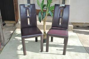 shi196 * dining chair /2 legs collection / leather style?/ high back / stylish / Brown / chair / furniture / Manufacturers unknown / chair