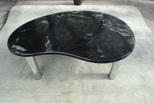 shi197 * marble manner table / low desk / desk /.. type / marble pattern / table / black / interior