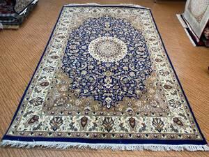 新しい パキスタン手織りカーペットダブルノット100%ウール 手織り絨毯 リビングラグ 。Size:214x135cm STN:714