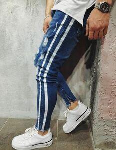 ダメージスキニージーンズ ジョガーパンツ ボトムス デニムパンツ メンズジーンズ ウォッシュ ブルー
