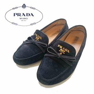 【送料無料】PRADA プラダ スリッポン ローファー スエード 靴 24.5 7 1/2 ネイビー 紺色 ロゴ リボン フラットシューズ