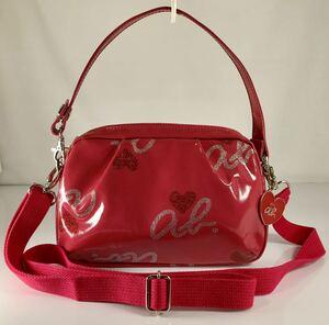 極美品 アニエス・ベー 3WAY お洒落な 斜め掛け 雨OK ブラック×ラメ入り 可愛い ピンク ハンド&ショルダーバッグです。ロゴチャーム付き。
