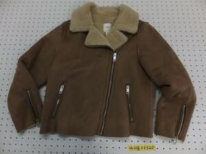 美品!H&M レディース フェイクムートン ライダースジャケット 38 茶色