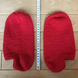 ハンドメイド あったか 靴下 毛糸 赤 レッド フリーサイズ 男女兼用