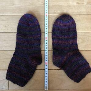 ハンドメイド 毛糸 靴下 ニーハイソックス