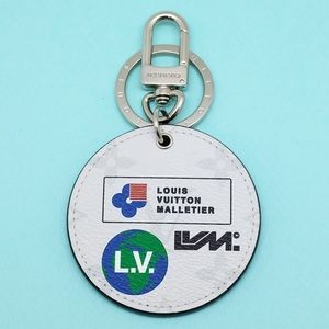 【新品同様】LOUIS VUITTON ルイヴィトン ポルトクレ・ラウンド M68301 シルバー×グレー キーホルダー バッグチャーム