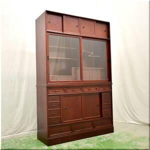 ◆美品◆民芸家具◆ 茶棚 飾り棚 水屋箪笥 茶箪笥 和家具 収納 和室 座敷 隠し引出し からくり ケヤキ 欅 無垢