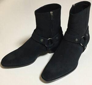 SAINT LAURENT PARIS スウェード レザー ワイアット ハーネス ブーツ 44 新品 BLACK サンローラン パリ swede harness boots ブラック 黒