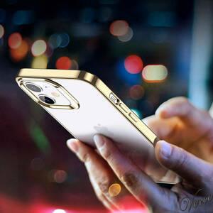 ESR iPhone 12 mini ケース 5.4インチ ゴールド メッキバンパー加工 TPUカバー 黄変防止 スリム フレーム 保護 ソフト 背面 クリア 透明