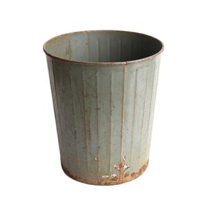 ゴミ箱 ダストボックス アンティーク ヴィンテージ メタル スチール 鉢 グリーン 雑貨 インダストリアル 027