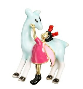 A233 ブローチ フォーマル ジュエリ- 女性 少女と馬ブローチ エナメル創造物語ブローチ レディース 女の子 女子 | 1円即決価格!