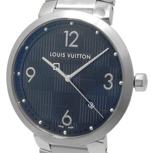 ルイヴィトン タンブールダミエ メンズ クォーツ QZ デイト 黒文字盤 Q1D00 LouisVuitton