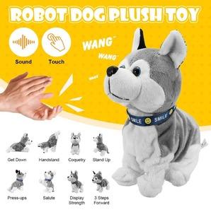 ◆最安にします◆電子ロボット犬ぬいぐるみ サウンドコントロール 電子 犬のおもちゃ ロボット 子犬ペット ぬいぐるみ AT7519