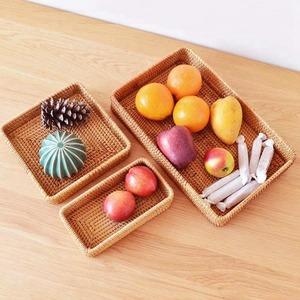 ◆最安にします◆籐 トレイ 収納 トレー お盆 バスケット 食品 インテリア キッチン 雑貨 フルーツ 部屋 AT6998