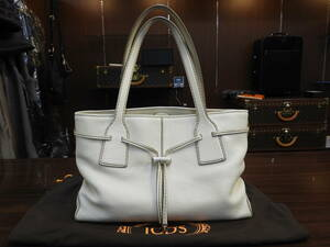 TODS☆トッズ 総革トート アイボリー!