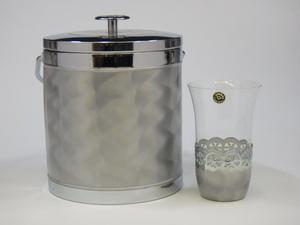 h1A232Z0.1 レトロ ジャパンシルバー アイスペール(氷入れ)&グラス1個 2点セット 未使用保管品