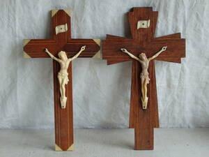 フランスアンティーク 十字架 2個セット クロス ウォール 壁掛け キリスト 教会 装飾 インテリア フレンチ 蚤の市 ブロカント 木製 仏国