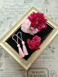 【Y132】髪飾りコサージュ&タッセル ★ピンク 卒業式 結婚式 成人式 入学式