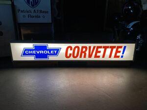 シボレー コルベット電飾 看板 CHEVROLET Chevy CORVETTE シェビー アメリカン ガレージ サイン 照明看板 マッスルカー C2 C3 世田谷ベース