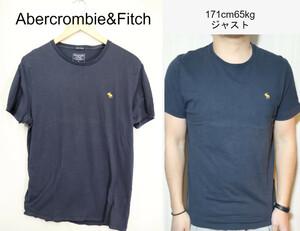 【メンズ】Abercrombie&FitchワンポイントTシャツ/アバクロアメカジ老舗ネイビーM