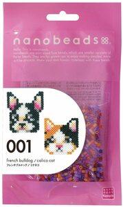 ナノビーズ フレンチブルドッグ ミケネコ 動物 犬 猫 カワダ 80-63000 ビーズ おもちゃ アクセサリー 材料