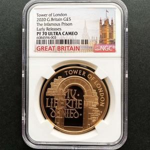最後の1枚 2020 英国 ロンドン塔コインコレクション 牢舎 5ポンド金貨 プルーフ NGC PF 70 UC ER 初鋳版 最高鑑定 完全未使用品 元箱付