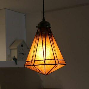 新品 ステンドグラス ペンダントランプ ライト アンバー 大正ロマン レトロデザイン 照明器具 ステンドグラスランプ 1灯式